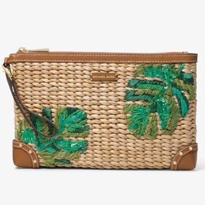 NWOT Michael Kors Palm Embroidered Straw Clutch